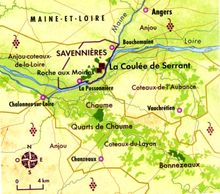 Carte des appellations d'Anjou, Coteaux-du-Layon