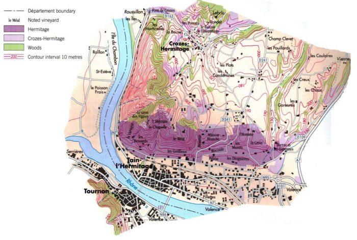 Carte des appellations Crozes-Hermitage et Hermitage