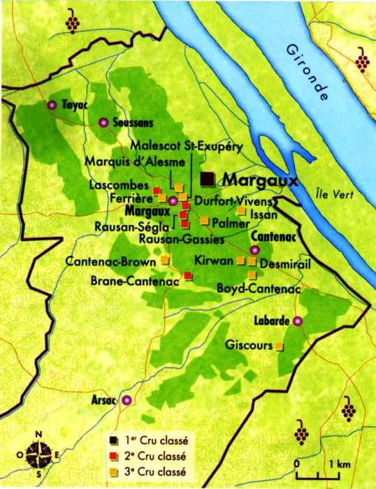 Carte Margaux (Médoc)