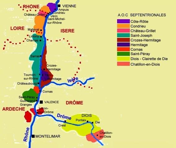 Carte des Côtes du Rhône septentrionales
