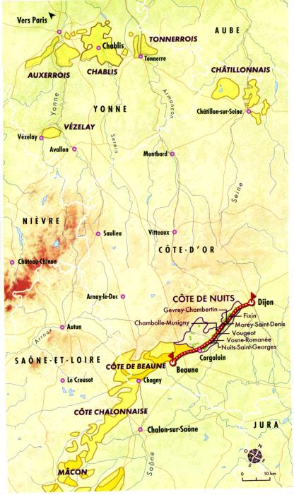 Carte de la Côte de Nuits (Bourgogne) et sa route des Grands Crus