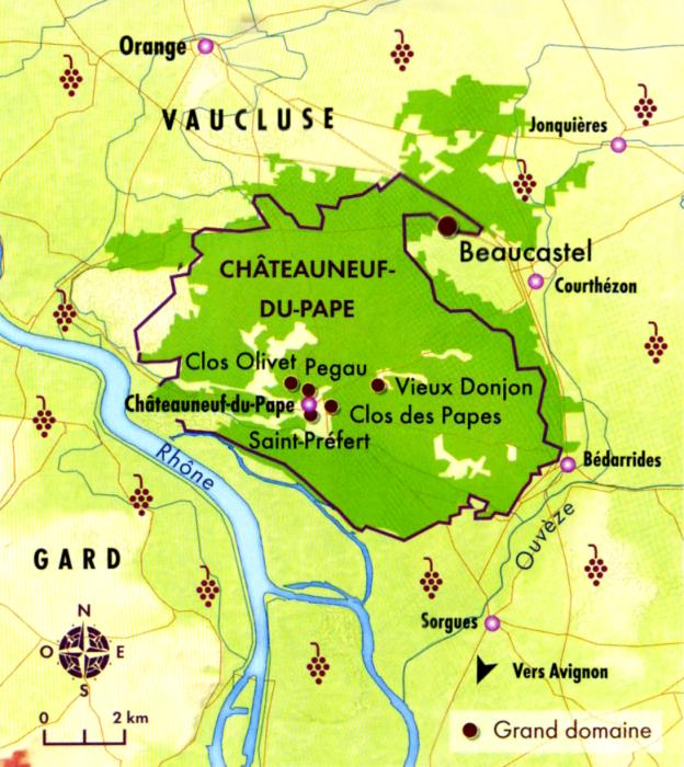 Carte de l'appellation Châteauneuf-du-Pape