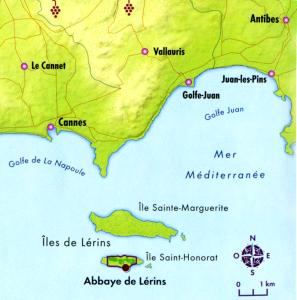 Carte des îles de Lérins
