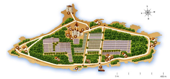 Île Saint-Honorat, le plan de l'île et de son vignoble