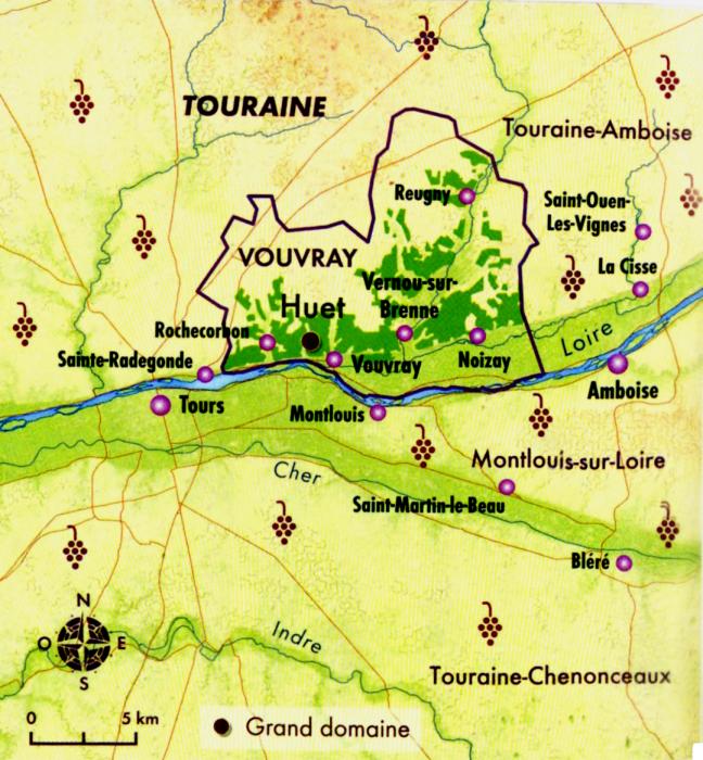 Carte de Vouvray et de son vignoble