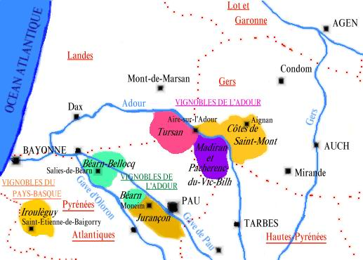 Carte de l'appellation Tursan