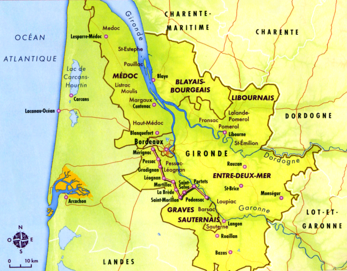 Carte du vignoble bordelais