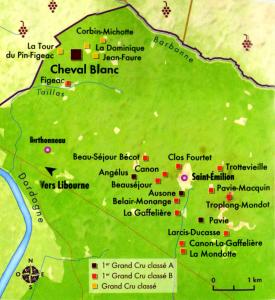 Carte château Cheval Blanc à Saint-Emilion