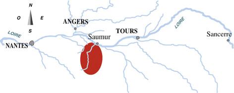 Carte de l'aire d'appellation Saumur
