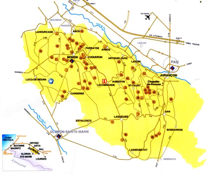 Carte de la Route des vins du Jurançon