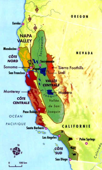 La carte du vignoble californien