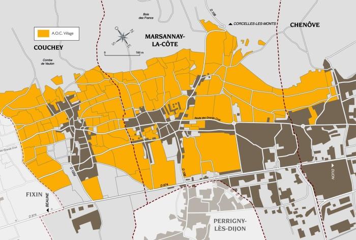 Carte de l'AOC Marsennay