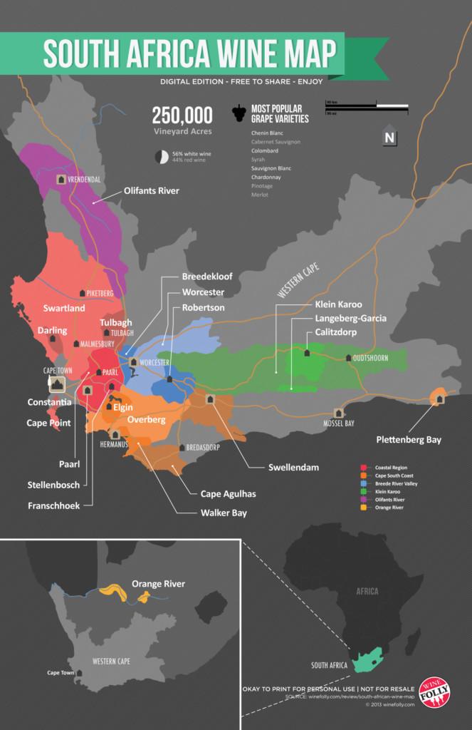 La carte des vignobles d'Afrique du Sud