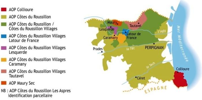 Carte vins tranquilles du Roussillon