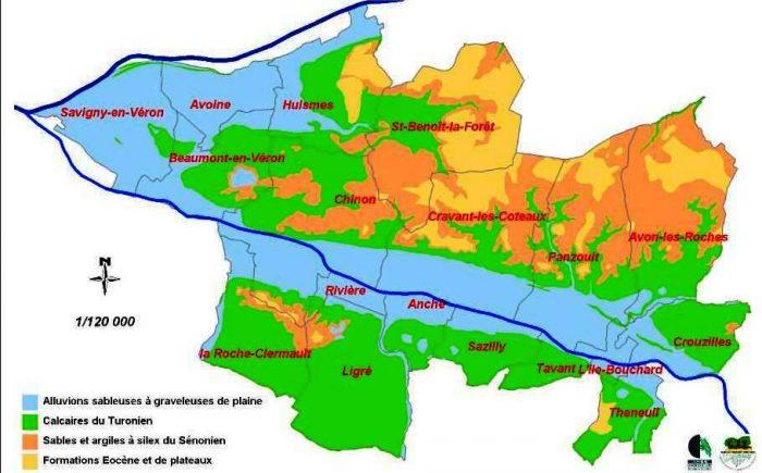 Carte géologique du vignoble de Chinon
