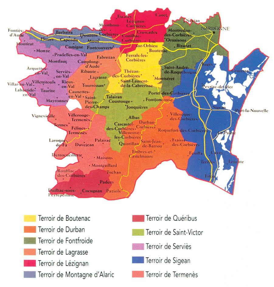 Carte des terroirs des Corbières