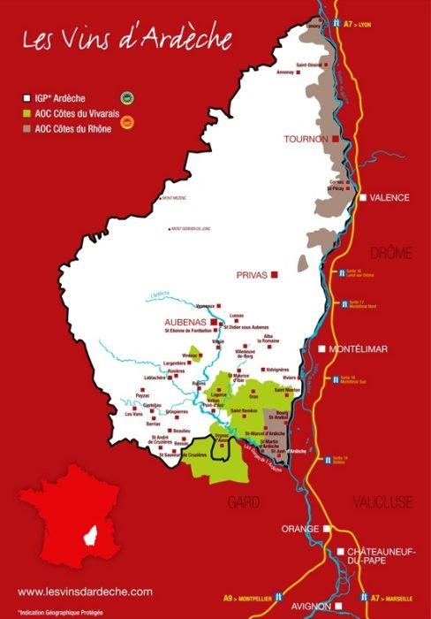 Carte des vins d'Ardèche