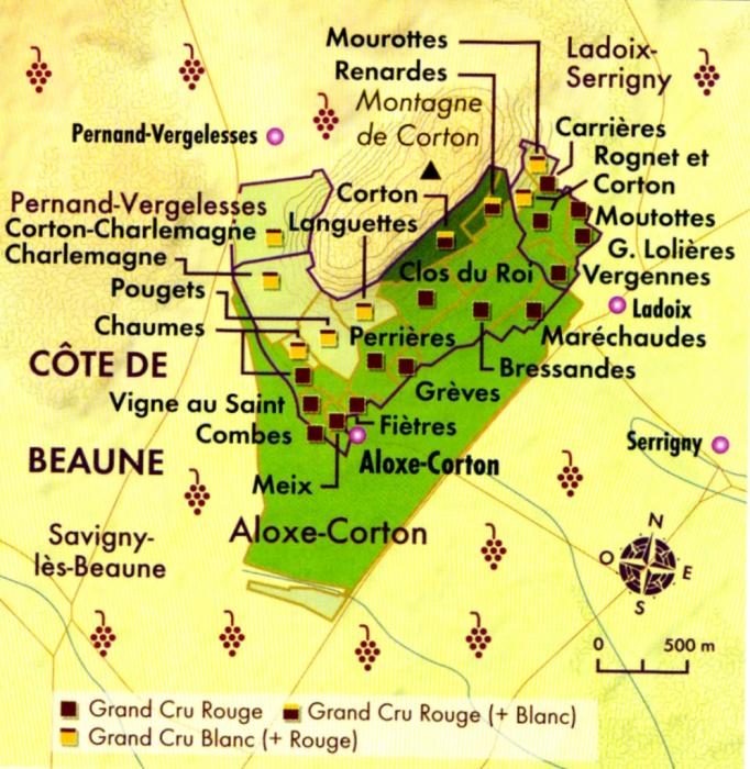 Montagne de Corton, la carte