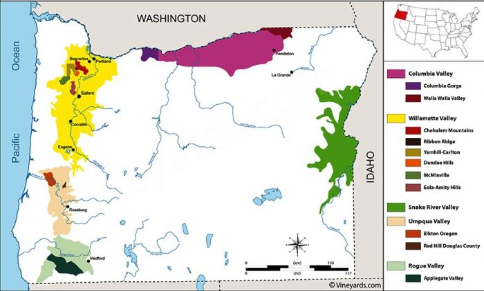 Carte de l'Oregon viticole