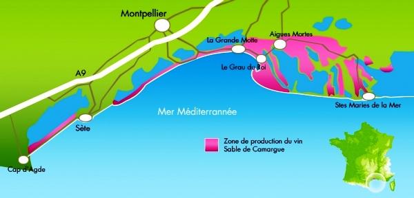 Carte de l'IGP Sable de Camargue