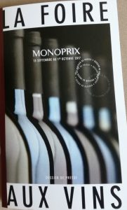Monoprix, Foire aux vins septembre 2017 et ses vins «rebelles»