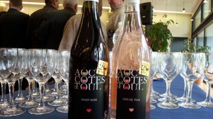 Les Côtes de Toul aux 3 appellations. Les Rouges sont issus d'un seul cépage rouge, le pinot noir, des vins à la robe rubis clair, souples, généreux, finement tanniques et corsés. Ils offrent un nez franc et aromatique à l'intense bouquet de framboise et de cassis. Les Blancs issus exclusivement du cépage local, l'auxerrois forment des vins souples et généreux avec une robe aux reflets d'or vert (Photo © Radio France - Isabelle Baudriller)