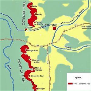 Carte du vignoble de l'AOC Côtes de Toul