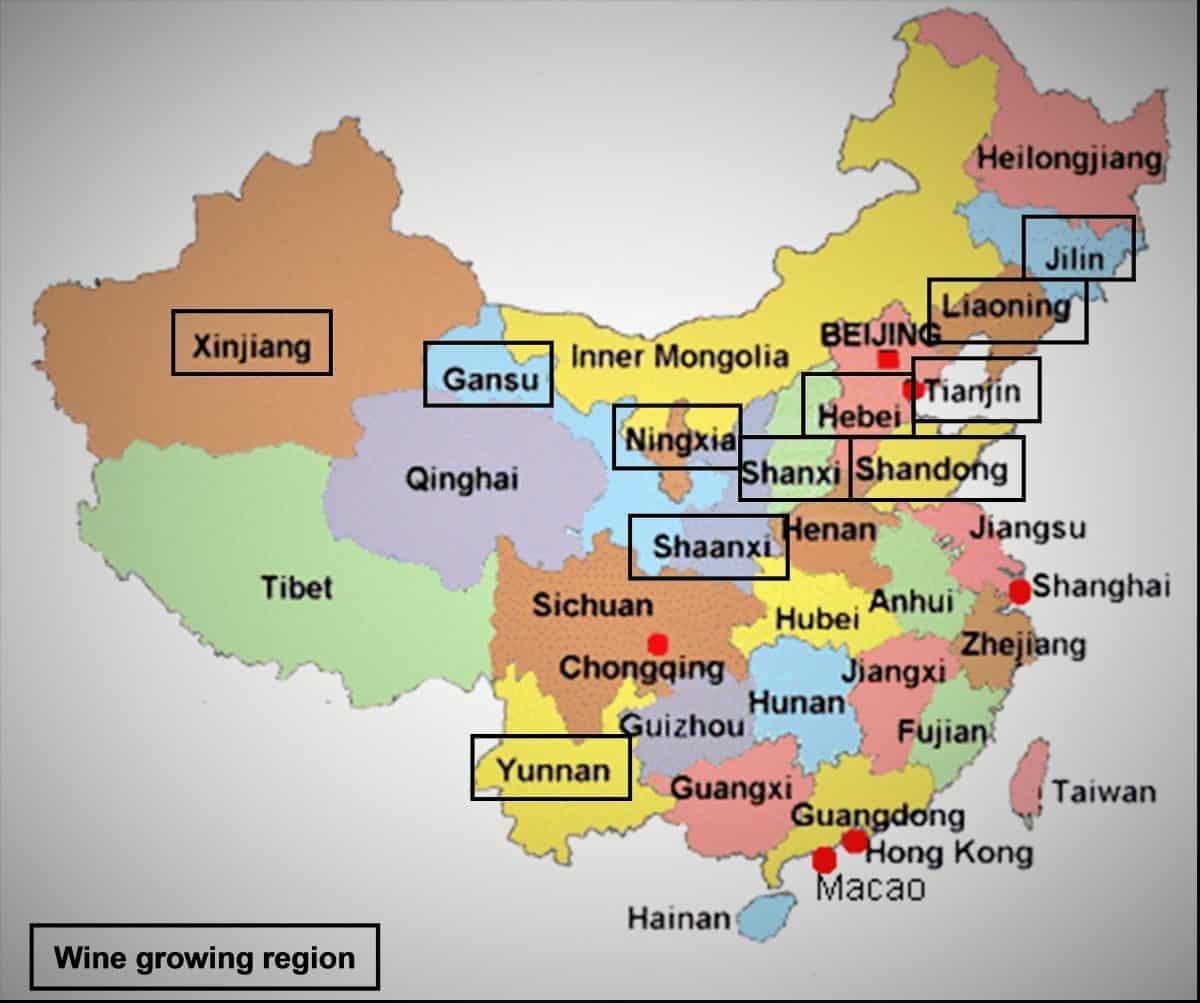 Carte des provinces et régions autonomes productrices de vins en Chine.