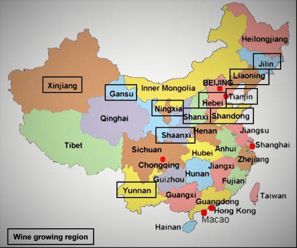 Carte des plus grandes régions viticoles chinoises (en encadré). La Chine possède le deuxième plus grand vignoble du monde avec 870 000 ha après l'Espagne et avant la France. Elle est le septième producteur de vins avec 11,4 millions d'hl.
