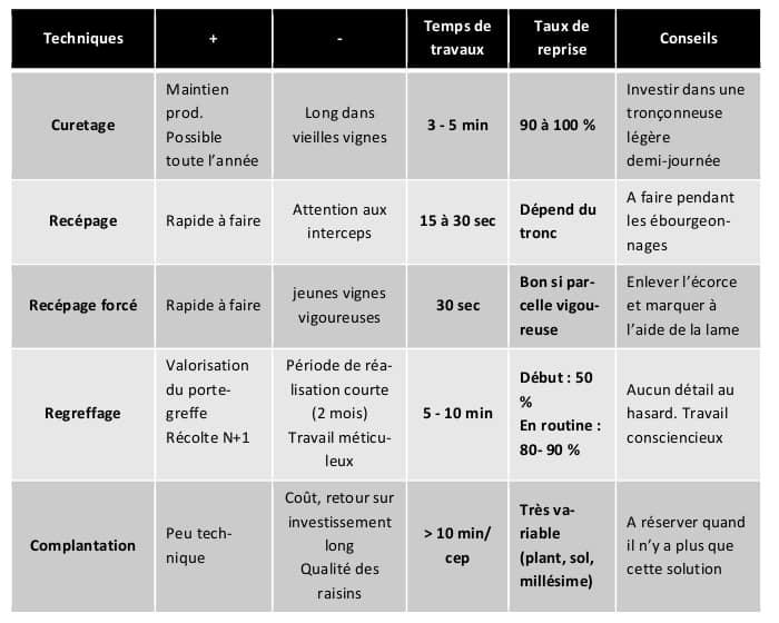 Tableau des principales techniques à mettre en place pour lutter contre le dépérissement de la vigne (ici, les maladies du bois)