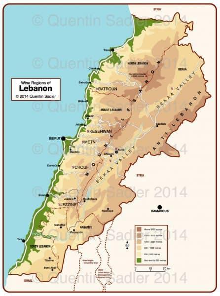 Carte du Liban. Si aujourd'hui, près de 60 % du vignoble libanais se trouve dans la Békaa, (essentiellement dans sa partie occidentale et les collines au-dessus de Zahlé), sa situation géopolitique entre la Syrie et Israël en fait le cœur d'une zone de conflit.