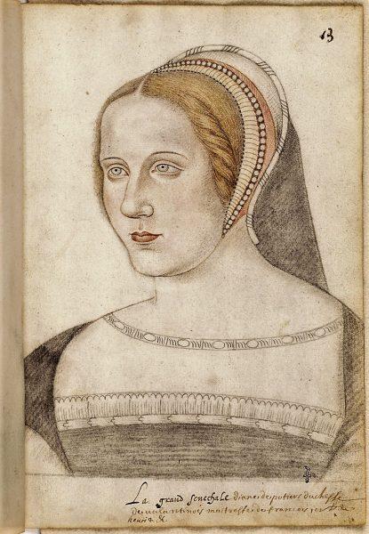 Portrait de Diane de Poitiers (Recueil Destailleur), artiste anonyme. Photo (C) RMN-Grand Palais (domaine de Chantilly) / René-Gabriel Ojéda Chantilly, musée Condé